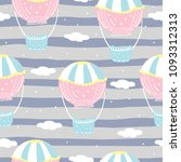 Stock vector vector seamless pattern with colorful air balloon in the sky 1093312313