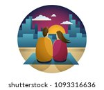 vector illustration couple in...