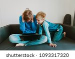 father try to work from home... | Shutterstock . vector #1093317320
