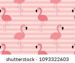 minimal pink flamingo pattern... | Shutterstock .eps vector #1093322603