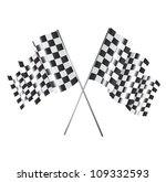 two racing flag over white... | Shutterstock .eps vector #109332593