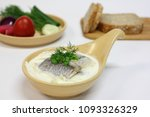 Stock photo herring in sour cream with vegetables and bread 1093326329