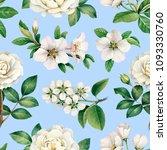 watercolor white flowers.... | Shutterstock . vector #1093330760
