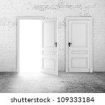 white brick room and two door - stock photo