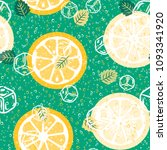 fruit pattern with lemon and... | Shutterstock .eps vector #1093341920