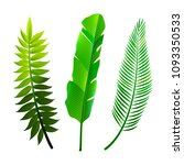 set of tropical leaves icons... | Shutterstock .eps vector #1093350533