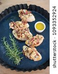 mushroom   bacon bruschetta | Shutterstock . vector #1093352924