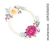floral wreath with yellow and... | Shutterstock .eps vector #1093356053