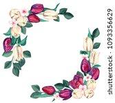 watercolor burgundy and cream... | Shutterstock . vector #1093356629