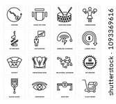 set of 16 simple editable icons ... | Shutterstock .eps vector #1093369616