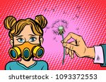 allergy to dandelion flowers.... | Shutterstock .eps vector #1093372553