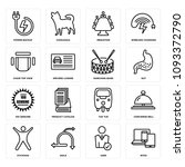 set of 16 simple editable icons ... | Shutterstock .eps vector #1093372790