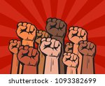 clenched fists of different... | Shutterstock .eps vector #1093382699