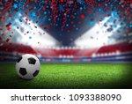 soccer ball on football field... | Shutterstock . vector #1093388090
