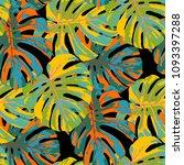 tropical leaves. seamless...   Shutterstock .eps vector #1093397288