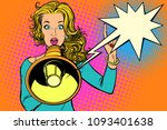 woman with megaphone  protest...   Shutterstock .eps vector #1093401638