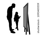 the girl shows her father... | Shutterstock .eps vector #1093405559