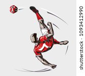 soccer player overhead kick