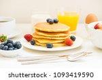 healthy breakfast set with... | Shutterstock . vector #1093419590