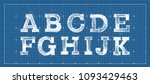 alphabet in style of a... | Shutterstock .eps vector #1093429463