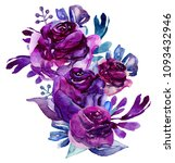 watercolor purple flowers clip... | Shutterstock . vector #1093432946