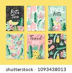 set of tropical cards with... | Shutterstock .eps vector #1093438013