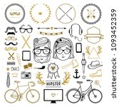 hipster collection... | Shutterstock .eps vector #1093452359