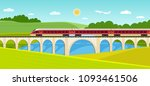 train on railway and bridge... | Shutterstock .eps vector #1093461506