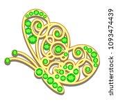 jewelry gold butterfly in gems. ... | Shutterstock .eps vector #1093474439