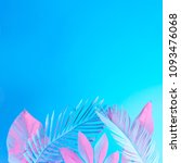 tropical and palm leaves in... | Shutterstock . vector #1093476068