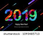 2019 happy new year design card ... | Shutterstock .eps vector #1093485713