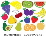 fruits and berries cartoon set  ...   Shutterstock .eps vector #1093497143
