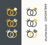 icon set of royal wedding rings.... | Shutterstock .eps vector #1093497899