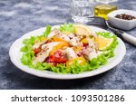 fish fillet with raw vegetables ... | Shutterstock . vector #1093501286