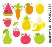 set of bright juicy vector... | Shutterstock .eps vector #1093511384