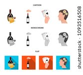 bottle  a glass of wine and... | Shutterstock .eps vector #1093516508