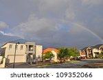 Rainbow On Dark Sky. Modern...