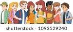 cartoon teenager students with... | Shutterstock .eps vector #1093529240