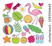 colorful cute summer element... | Shutterstock .eps vector #1093544669