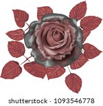 gothic rose   black roses with... | Shutterstock .eps vector #1093546778