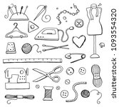 hand drawn set with sewing and... | Shutterstock .eps vector #1093554320
