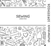 hand drawn set with sewing and... | Shutterstock .eps vector #1093554326