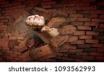 hand breaking through the wall. ... | Shutterstock . vector #1093562993