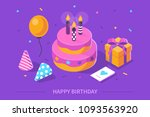 happy birthday concept. flat... | Shutterstock .eps vector #1093563920