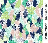 tropical leaves texture pattern ... | Shutterstock .eps vector #1093566209