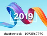 2019 new year of a colorful... | Shutterstock .eps vector #1093567790