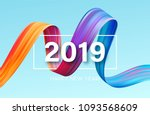 2019 new year of a colorful... | Shutterstock .eps vector #1093568609