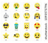 set of 16 simple editable icons ... | Shutterstock .eps vector #1093573796