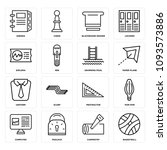 set of 16 simple editable icons ... | Shutterstock .eps vector #1093573886