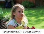 little girl having a rest in a...   Shutterstock . vector #1093578944